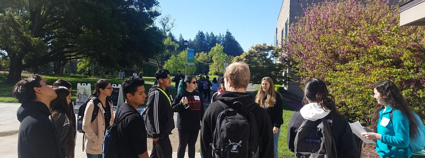 Students touring campus during discovery day