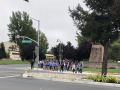 SSU students marching on Rohnert Park Expressway to show their support.