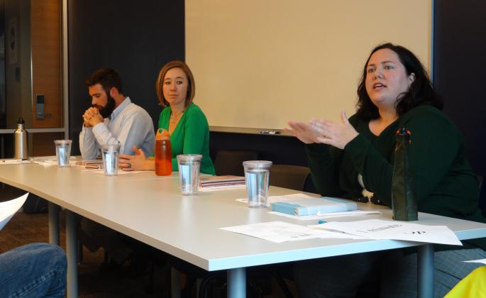 Panelists from left to right: Sean Michetti, Angie Corwin, and Briana Downey.