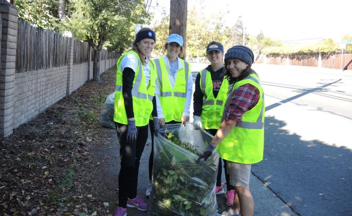 My teammates and I doing yard work in the Bennett Valley neighborhood for Sonoma Serves.