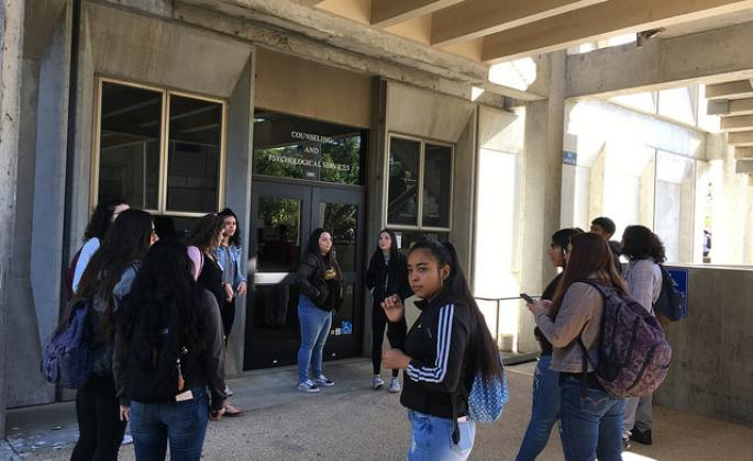 Students gather outside Counseling and Psychological Services at SSU