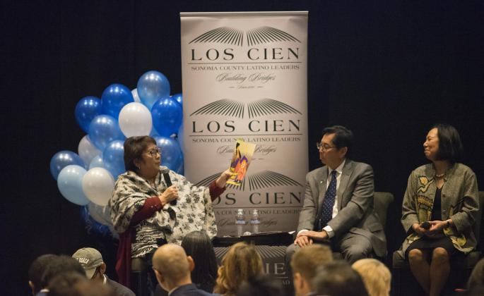 From left to right: Diann Kitamura, the Superintendent of Santa Rosa City Schools, Dr. Frank Chong, the President of Santa Rosa Junior College and Dr. Judy Sakaki, the President of Sonoma State University.