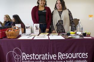 Restorative Resources tabling at the Service and Internship Fair