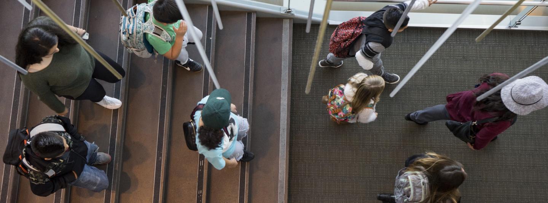 Children walking through the student center