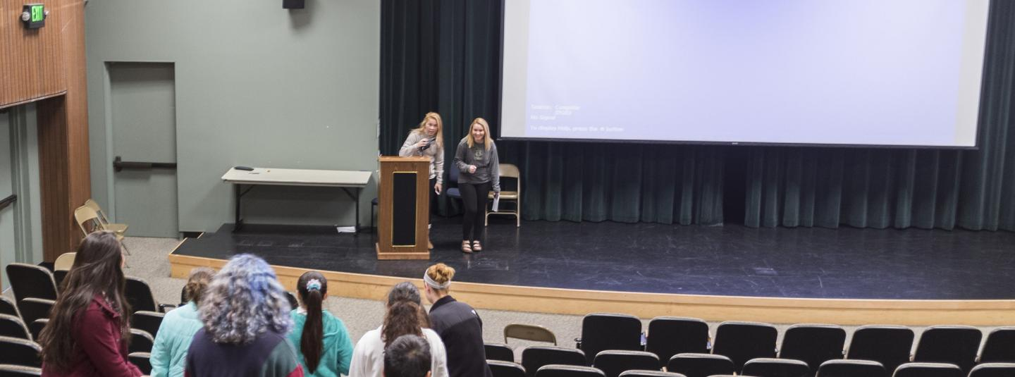 Students visit a lecture hall