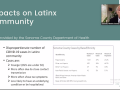 "a slide entitled ""Impacts on the Latinx Community"""