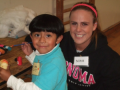 Nina Cragg, a volunteer from the CATS program and Zuriel Santiago, the sibling of a Sat Sidekicks participant.