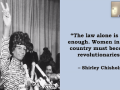 """The law alone is not enough. Women in this country must become revolutionaries."" - Shirley Chisholm"